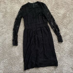 Zara Woman Lace Black Long Sleeve Dress